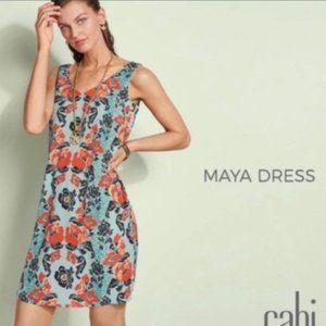 CAbi Maya Floral Dress Teal/Orange/Black M #5400